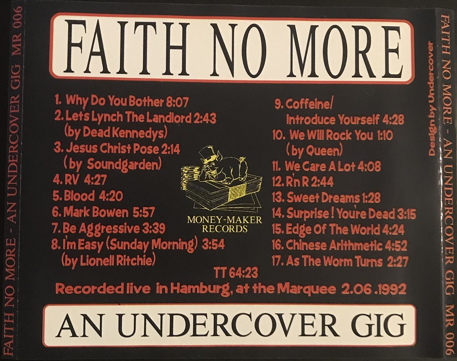 Back cover of An Undercover Gig CD