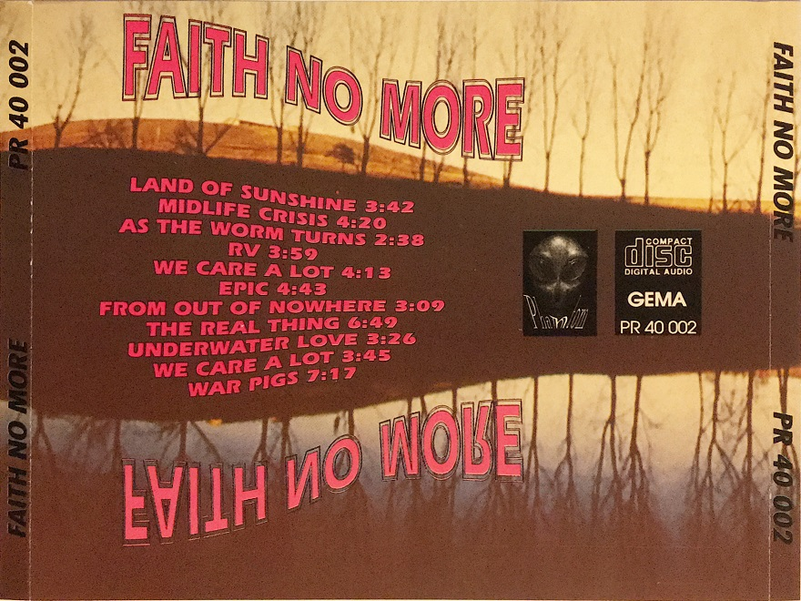 Back cover of Faith No More CD