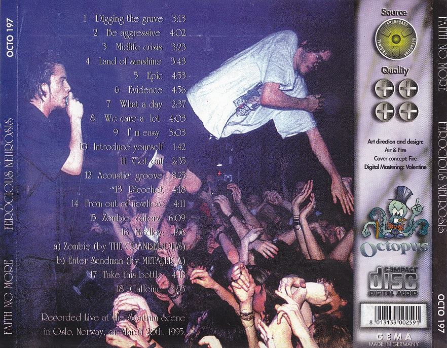 Back cover of Ferocious Neurosis CD