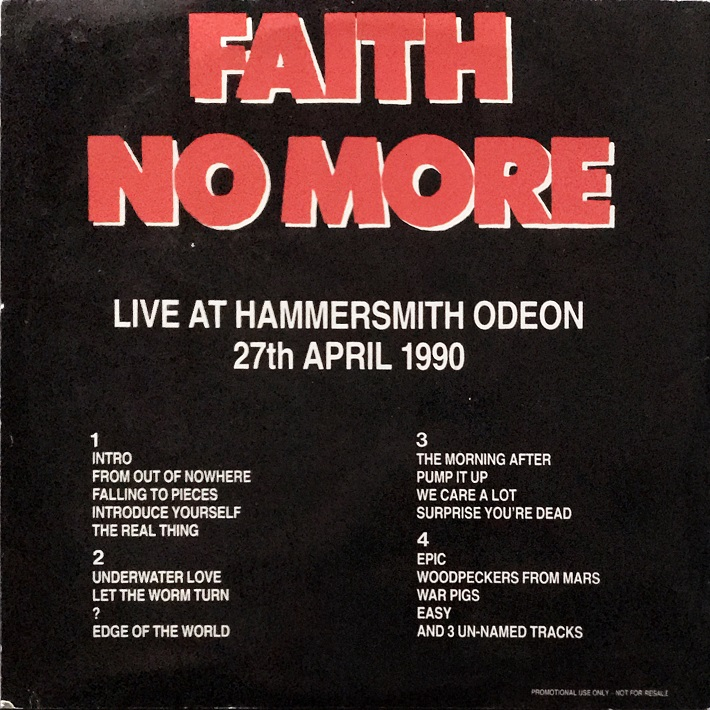 Back cover of Live At The Hammersmith Odeon vinyl
