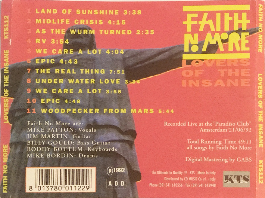 Back cover of Lovers Of The Insane CD