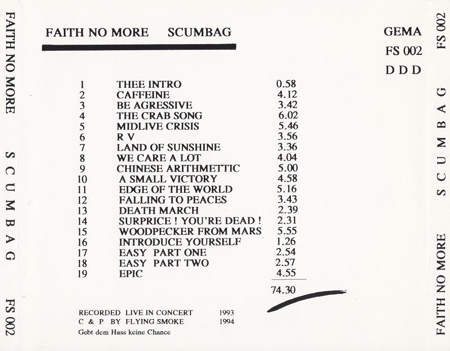 Back cover of Scumbag CD