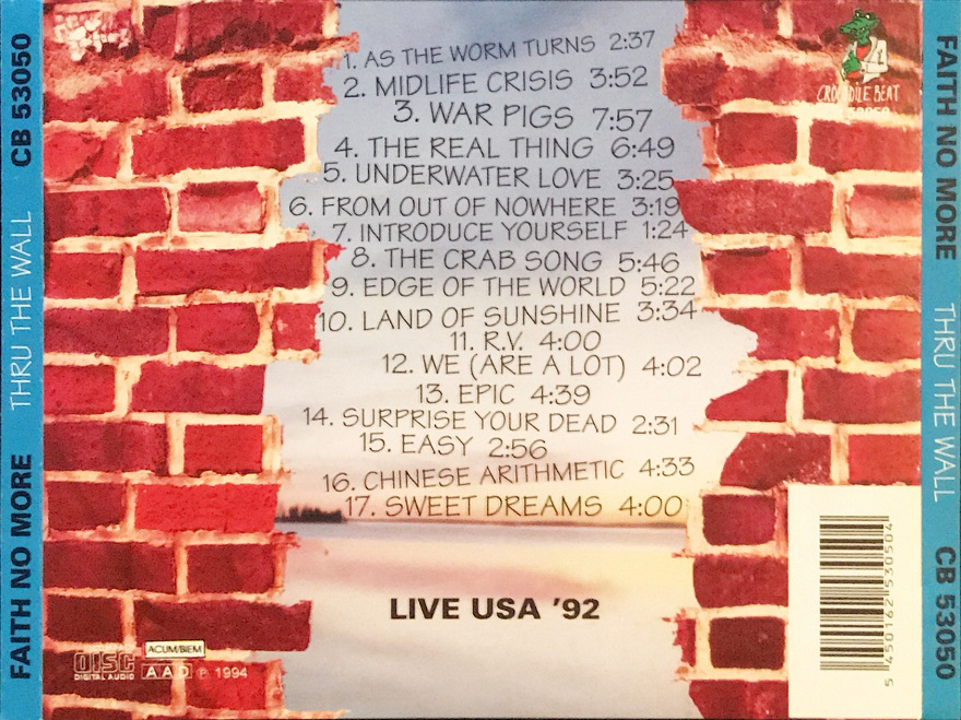 Back cover of Thru The Wall CD