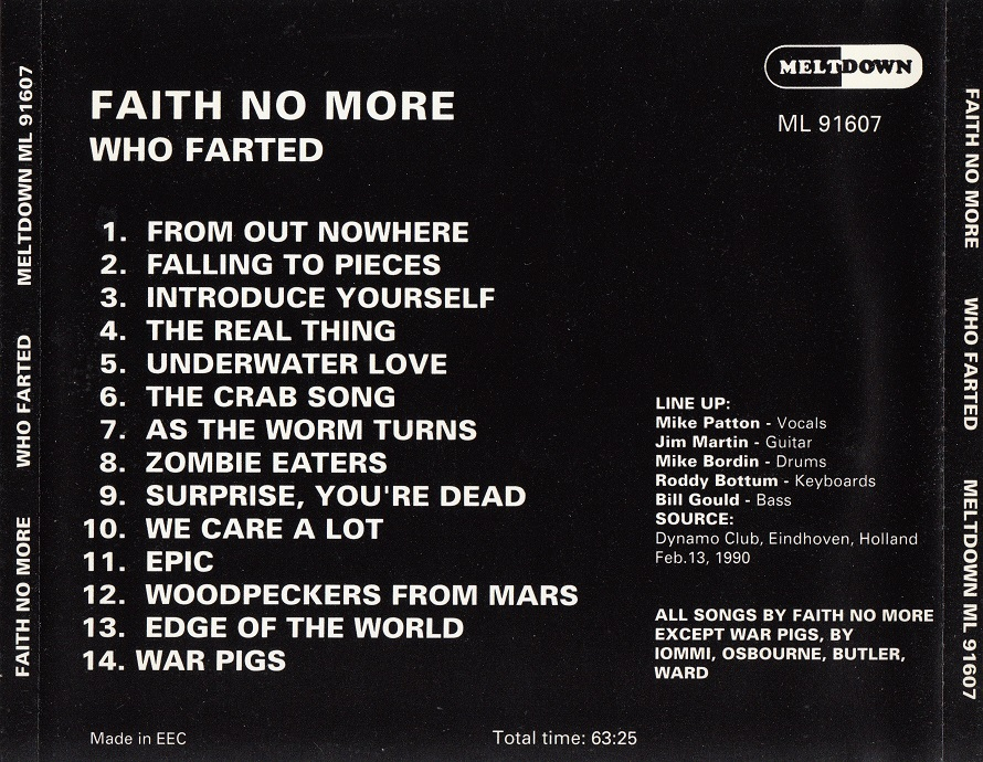Back cover of Who Farted CD
